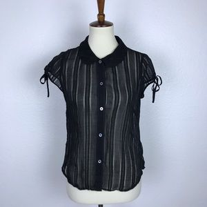 Banana Republic Sheer Black Button Down Top